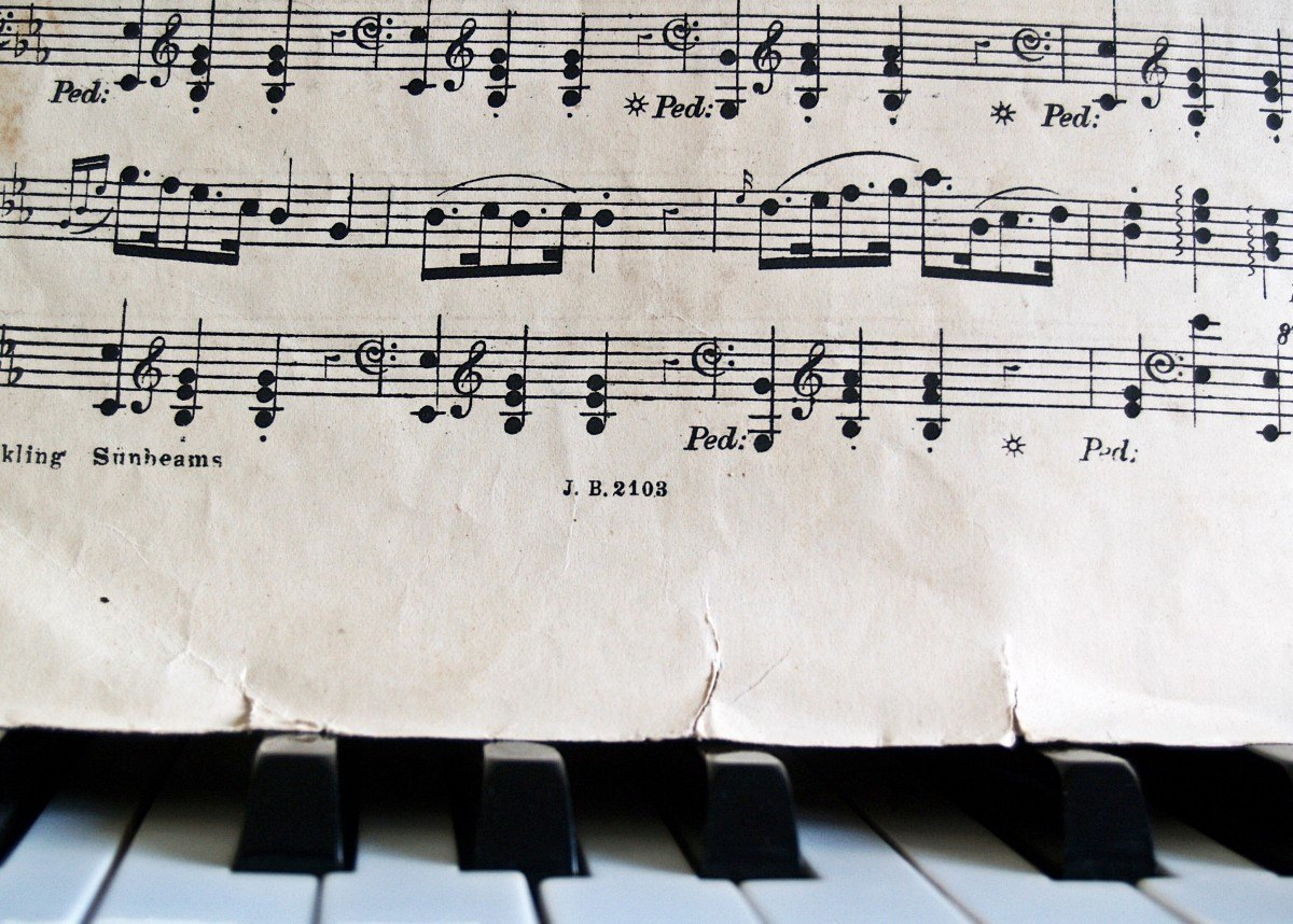 notes_piano_sheet_music_keys_old_antique_torn_score