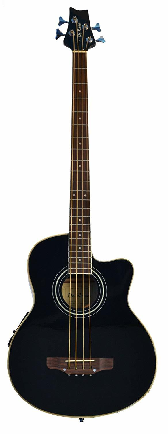 Cutaway Black Acoustic Electric 4 String Bass with 4 EQ