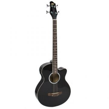 1Electric Acoustic Bass Guitar Black Solid Wood Construction With Equalizer New