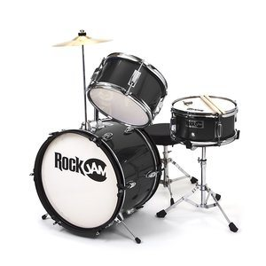 RockJam RJ103-BK 3-Piece Junior Drum Set with Crash Cymbal