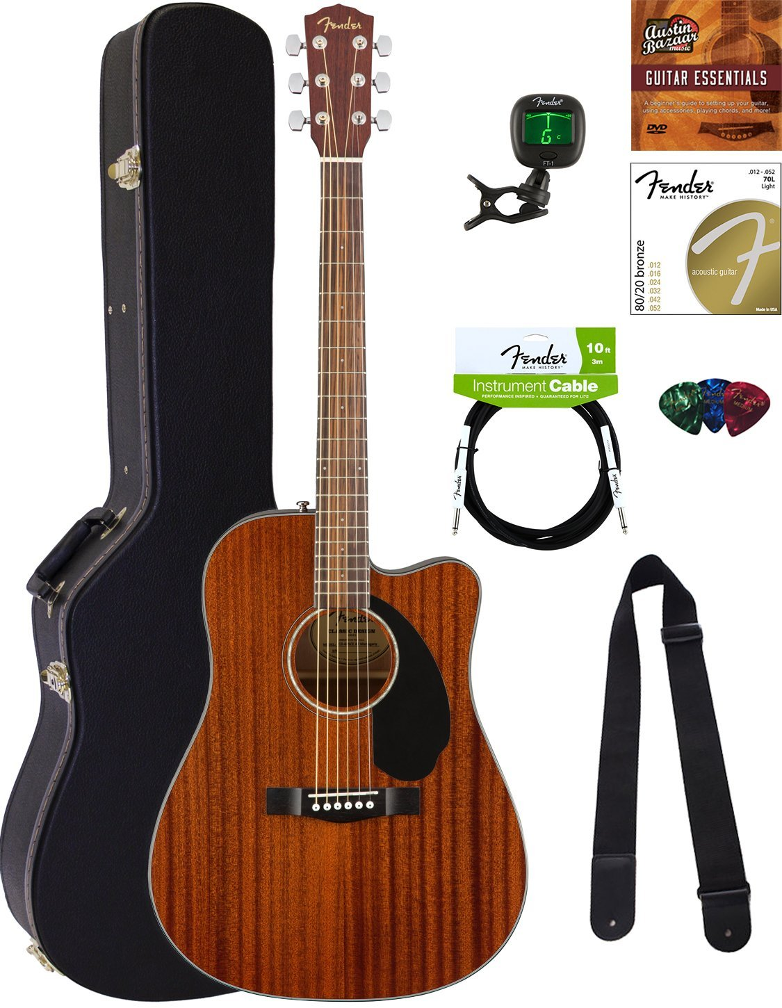 Fender Dreadnought Acoustic-Electric Guitar (CD-60SCE)