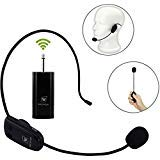 WinBridge UHF Wireless Microphone Headset Rechargeable Transmitters & Receivers 6.35mm for Voice Amplifier Audio Sound System External Speaker DSLR Camera etc (WB008 Pro)